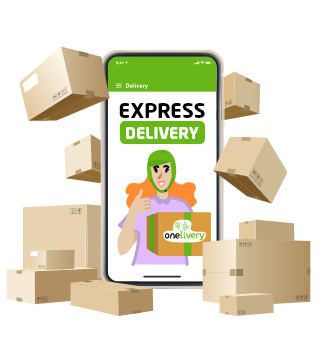 Cartoon graphics with Onelivery mobile app surrounded by packages
