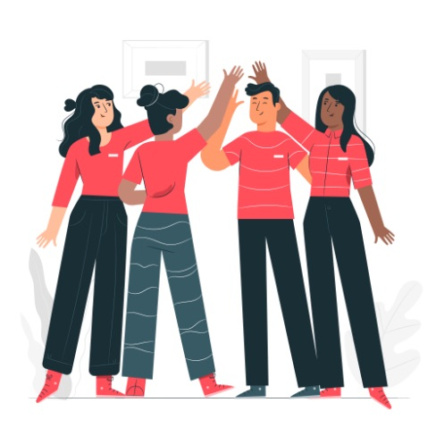 Cartoon graphics of a group of Onelivery employees high-fiving