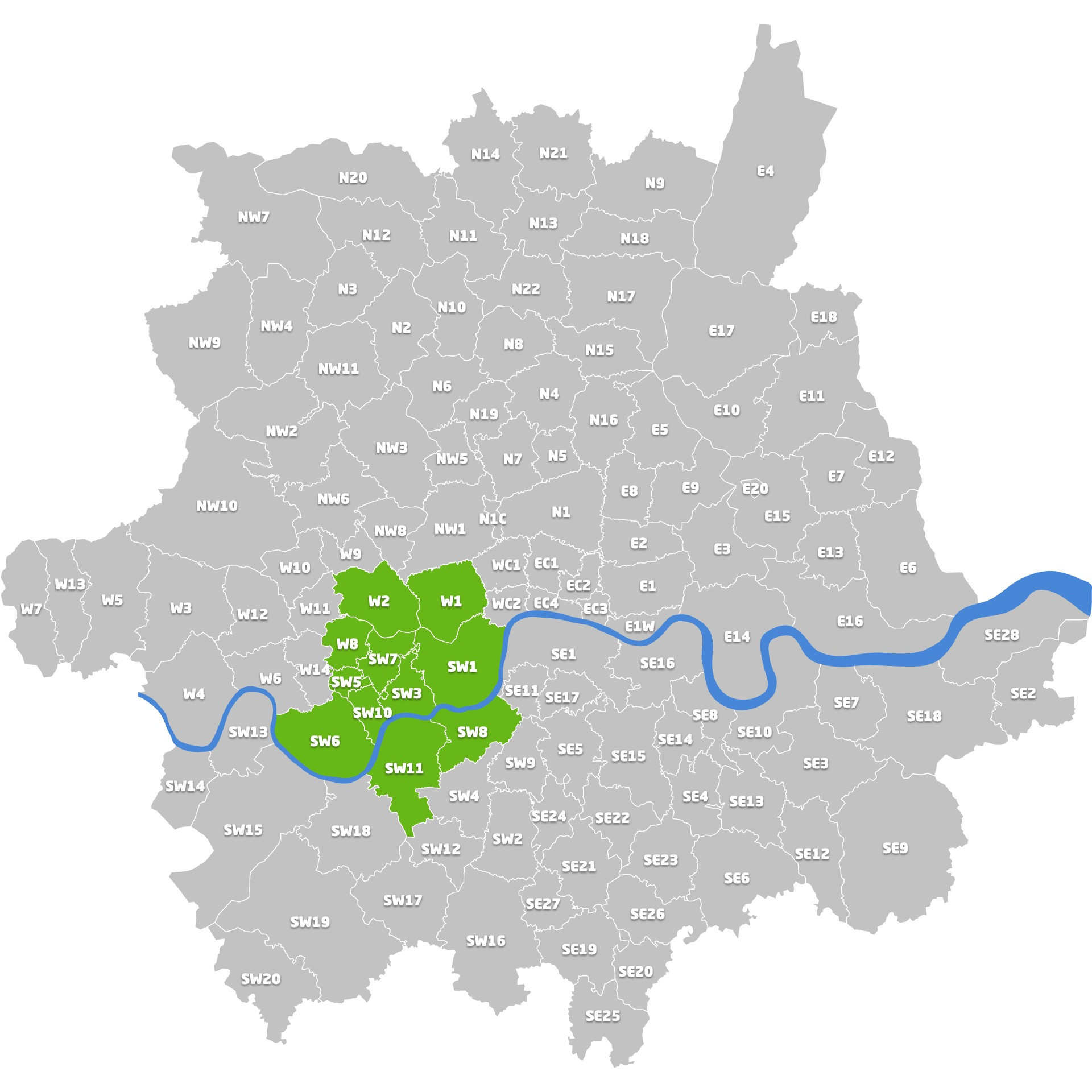Map of London with green highlights around postcodes SW1, SW3, SW5, SW7, SW10